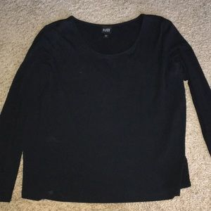 Eileen fisher 100% silk L/S scoopneck black shirt
